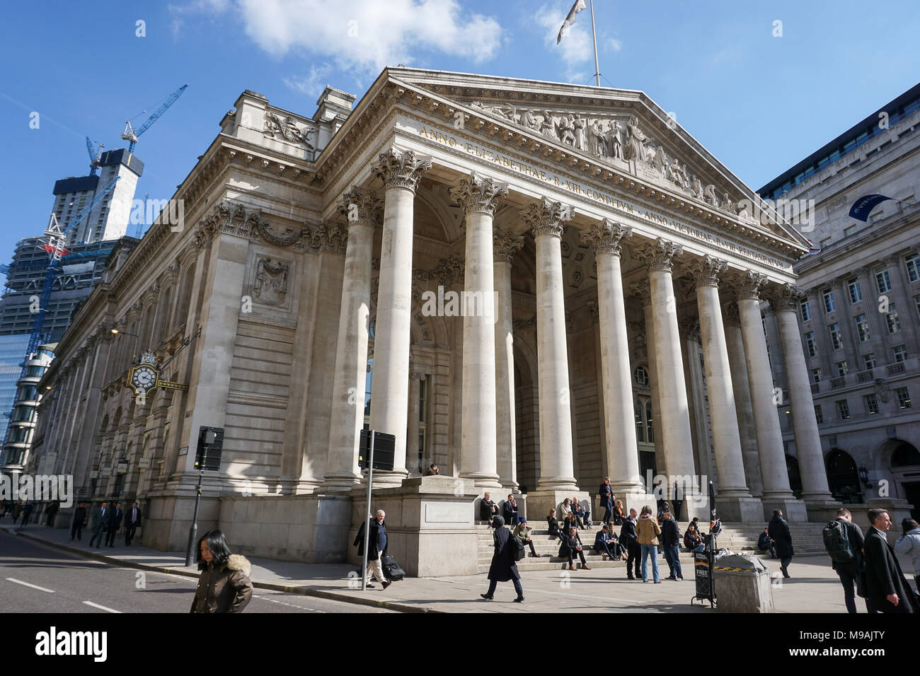 Front of the Royal Exchange in London, UK - Stock Image