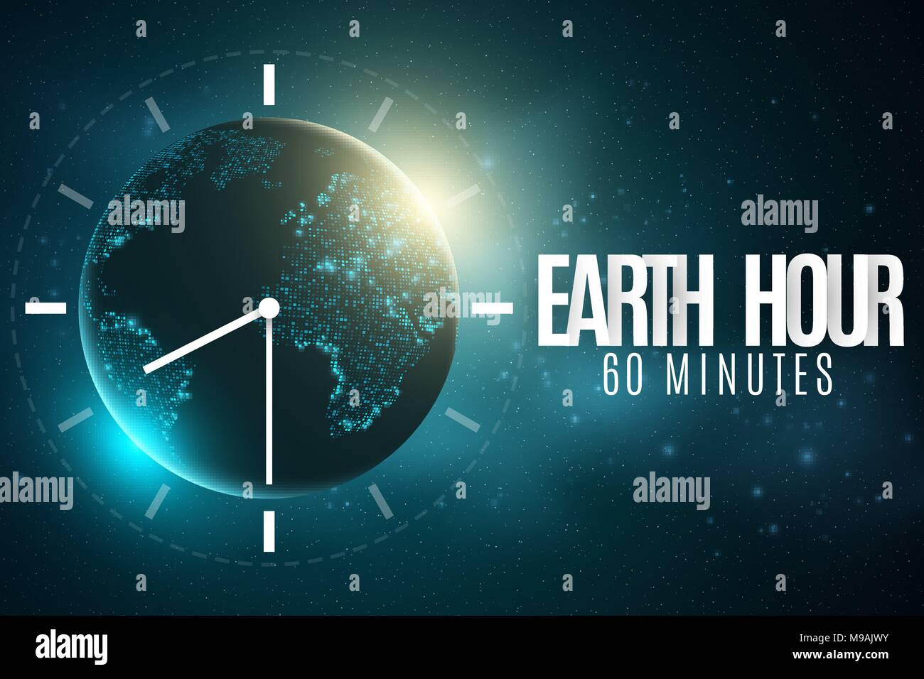 Earth hour futuristic planet earth 60 minutes without electricity earth hour futuristic planet earth 60 minutes without electricity 3d paper letters sunrise global holiday clock go abstract world map starry s gumiabroncs Image collections