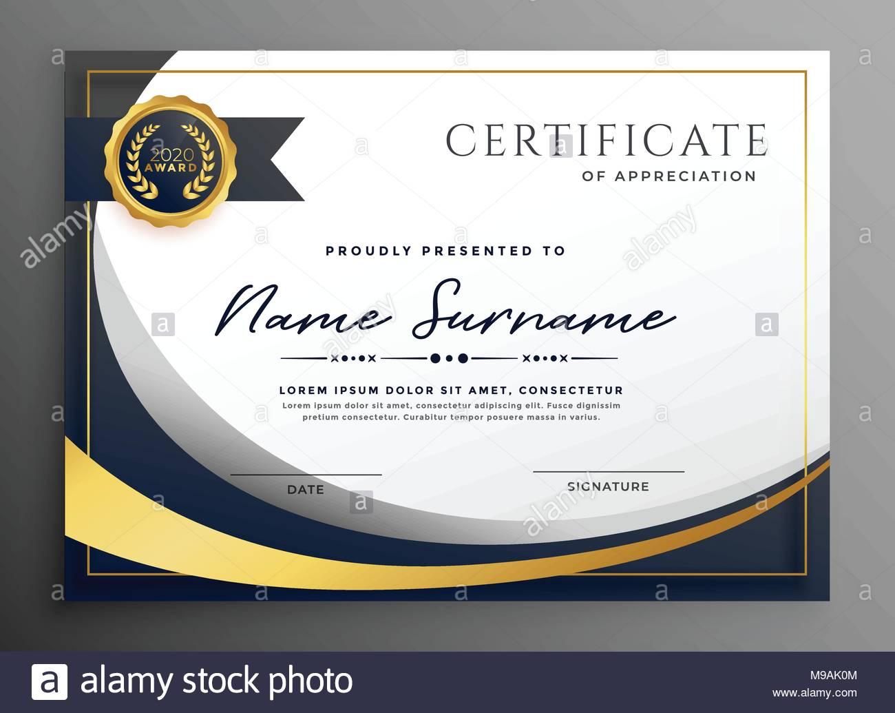 premium wavy certificate template design Stock Vector Art