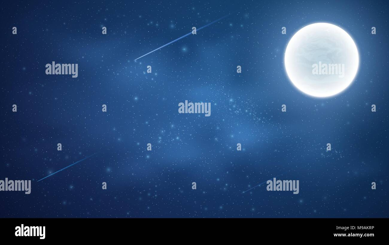 Starry sky with a luminous blue milky way. Shooting stars. Full moon. Falling comets. Shining stars in the dark sky. Background for your design. Vecto - Stock Image