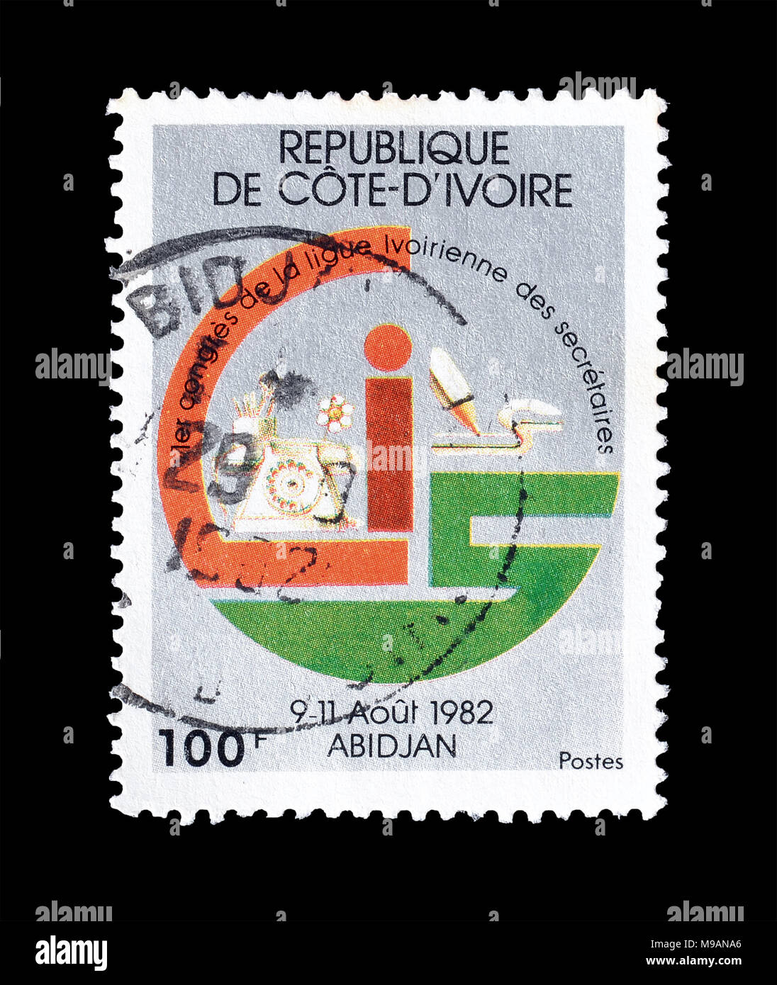 Cancelled postage stamp printed by Ivory Coast, that promotes League of Ivory Coast Secretaries, circa 1982. - Stock Image