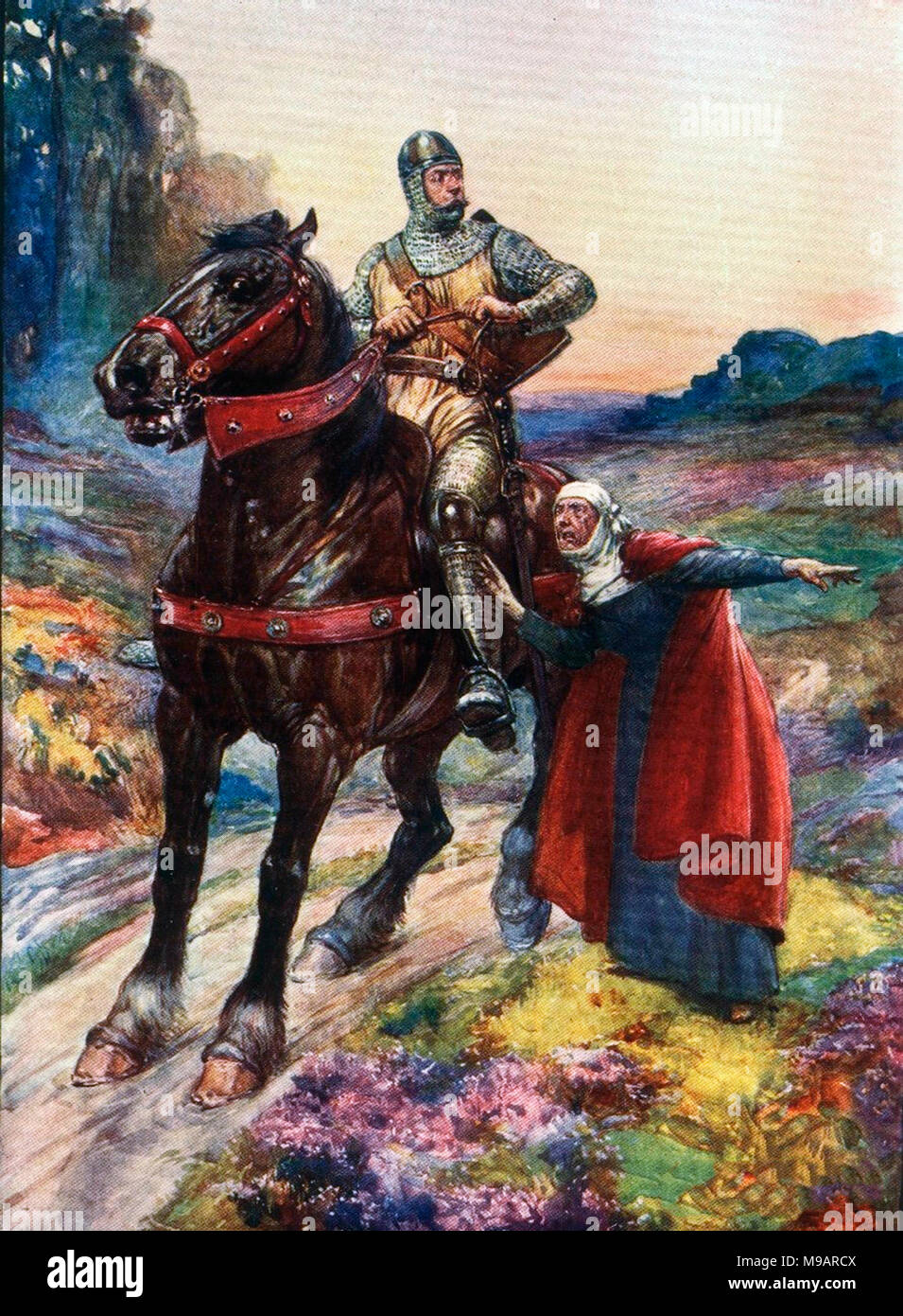 Sir William Wallace (c.1270-1305). Illustration of the Scottish knight and independence fighter from a 1906 childrens' history book entitled 'Scotland's Story' by H E Marshall. - Stock Image