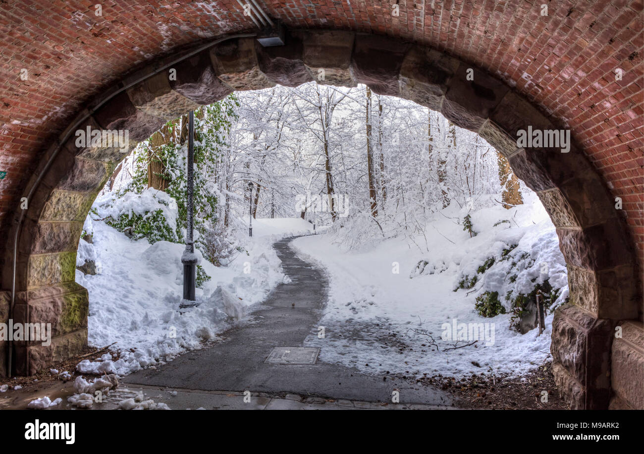An idyllic winter scene seen from below Eastwood Arch after an Historic Spring snowstorm in Prospect Park, Brooklyn - Stock Image