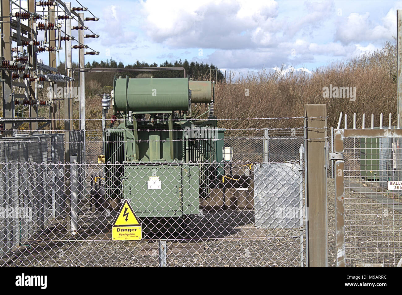 electricity substation compound part of the electrical distribution network in west cork, ireland Stock Photo