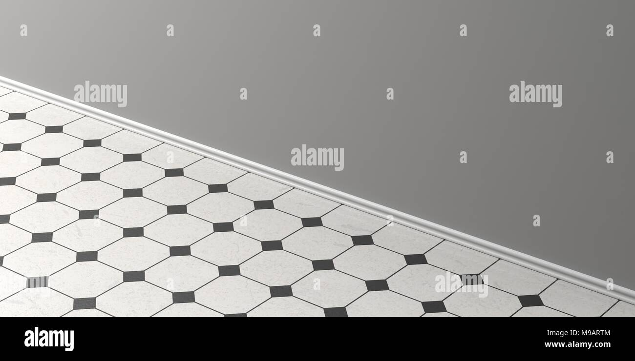 Vintage white ceramic tiles floor with black details grey wall and vintage white ceramic tiles floor with black details grey wall and white skirting perspective view copy space 3d illustration dailygadgetfo Choice Image