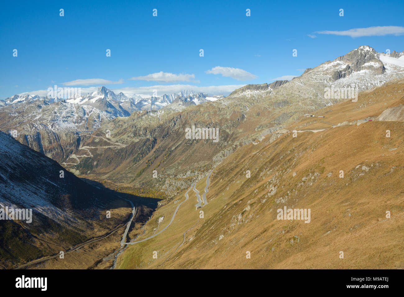 View from Furka pass on Grimsel pass and Swiss Alps Stock Photo