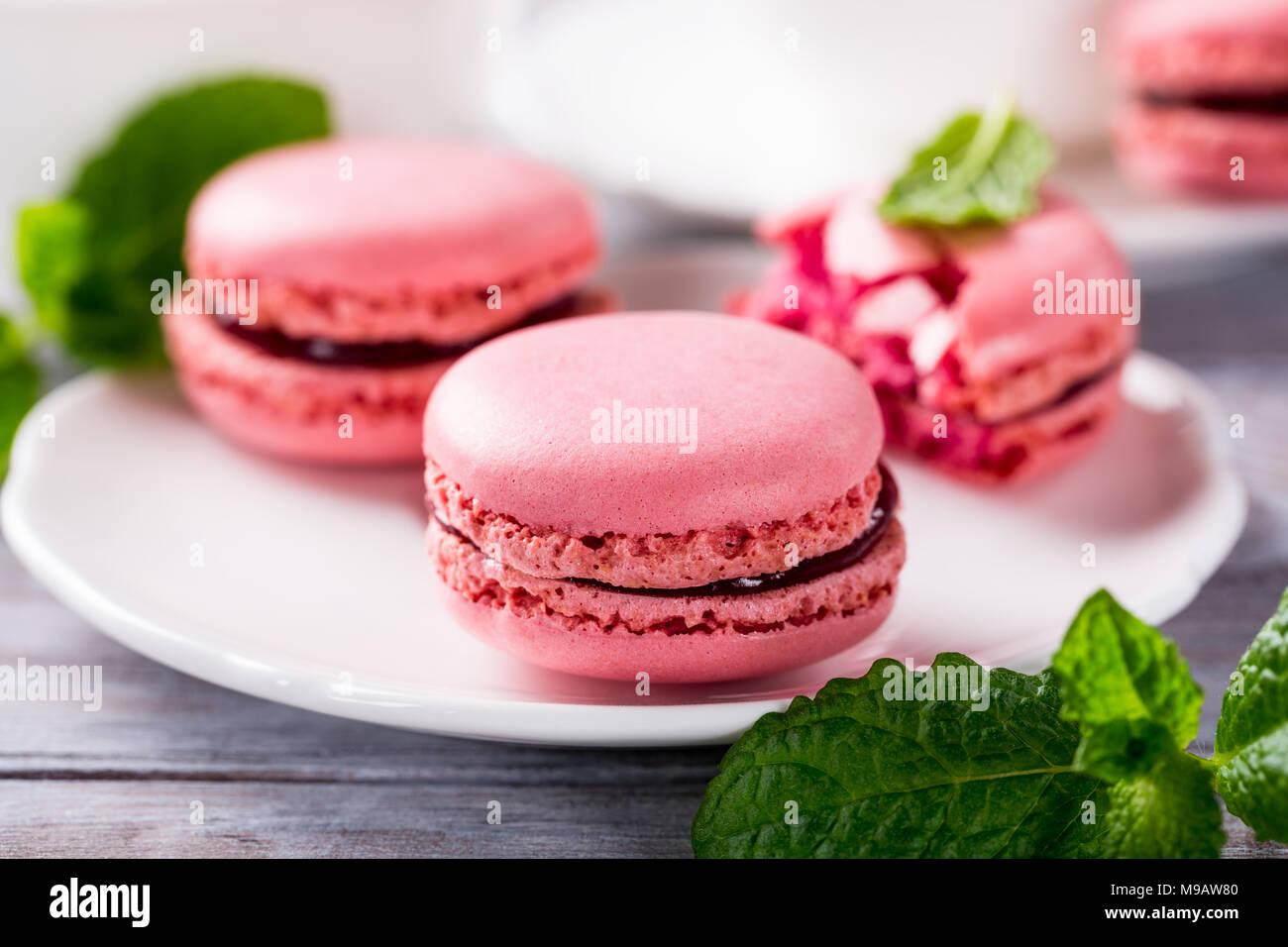 French raspberry macarons - Stock Image