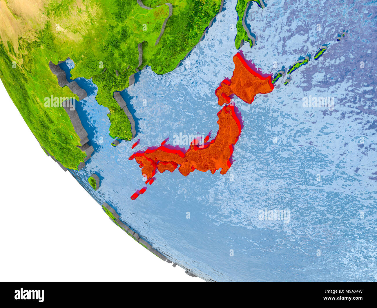 Map Of Japan In Red On Globe With Real Planet Surface Embossed