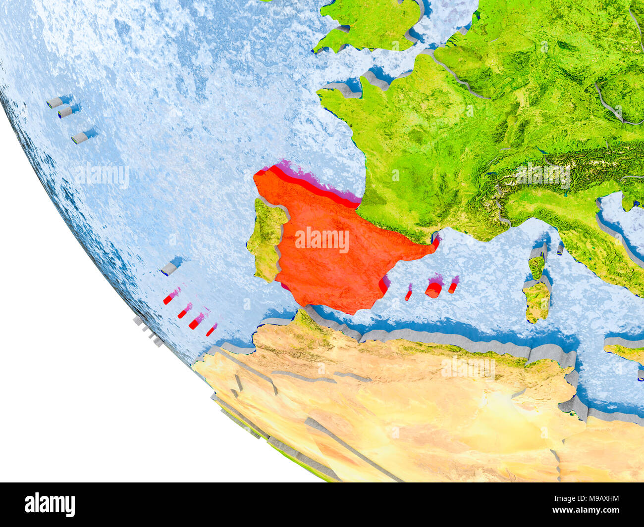 Map Of Spain Oceans.Map Of Spain In Red On Globe With Real Planet Surface Embossed