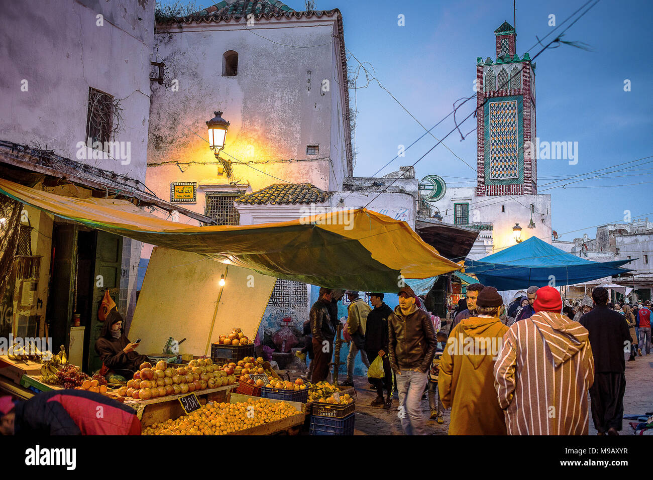 Ayuon street, in background Sidi Haj Ali Baraka Zaouia, medina, UNESCO World Heritage Site,Tetouan, Morocco Stock Photo
