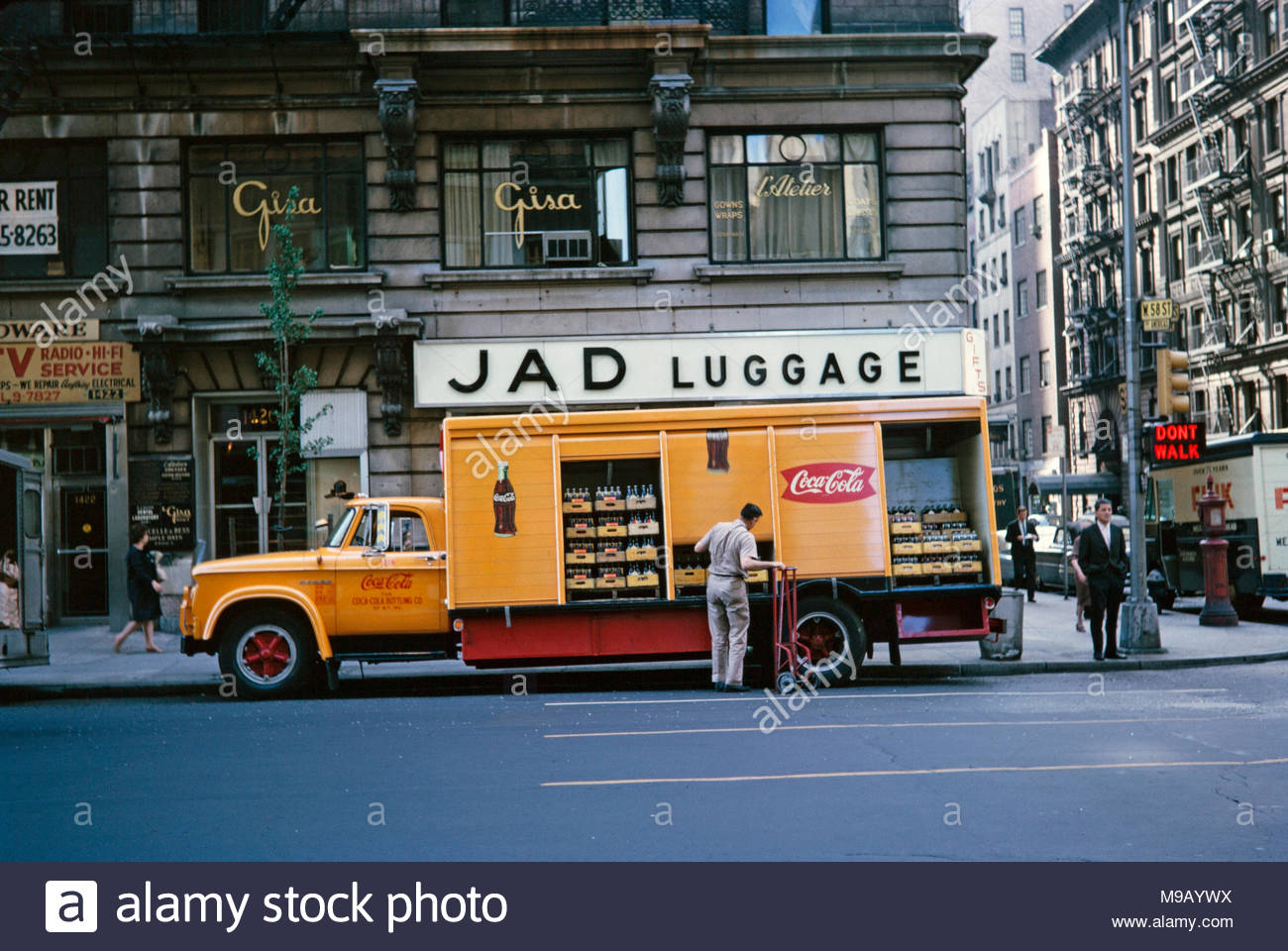 1960s Lorry Stock Photos Images Alamy 19601970 Mercedes Benz Trucks A Coca Cola Delivery Truck Being Unloaded Outside The Jad Luggage Store On