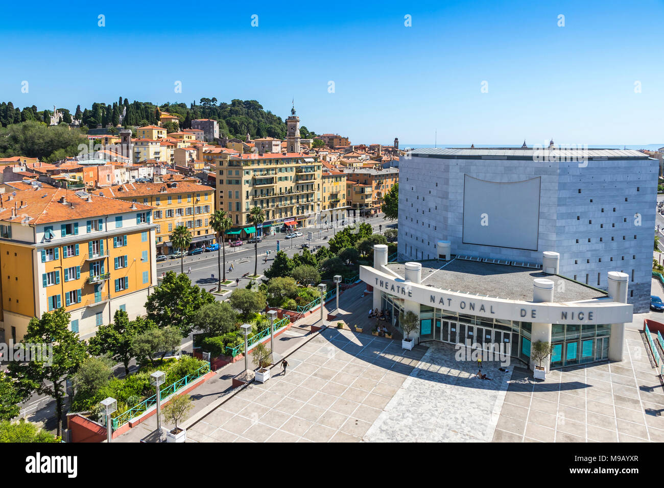 NICE, FRANCE - JUNE 23, 2016: Aerial view of the National Theater of City of Nice (Theatre National de Nice) and Promenade des Arts Stock Photo