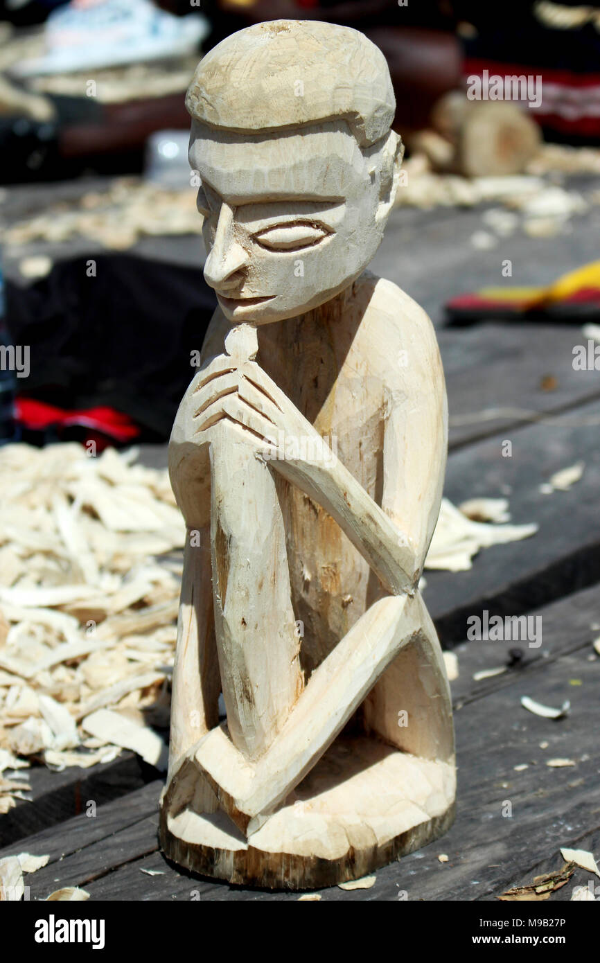 Wood Crafting Competition at Cultural Festival Asmat, Papua, Indonesia Stock Photo