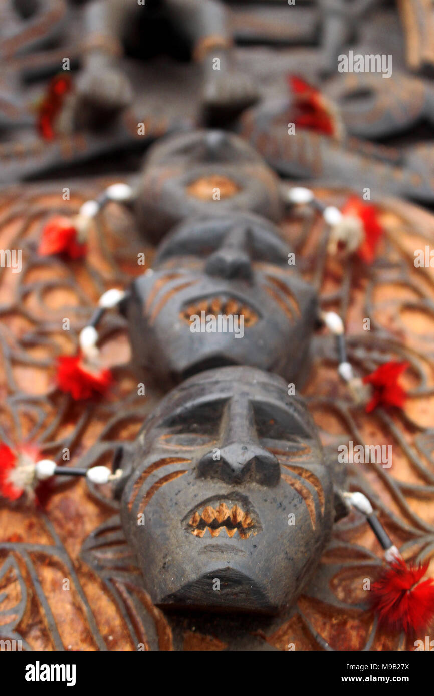 Face Wood Crafting on Cultural Festival Asmat, Papua, Indonesia - Stock Image