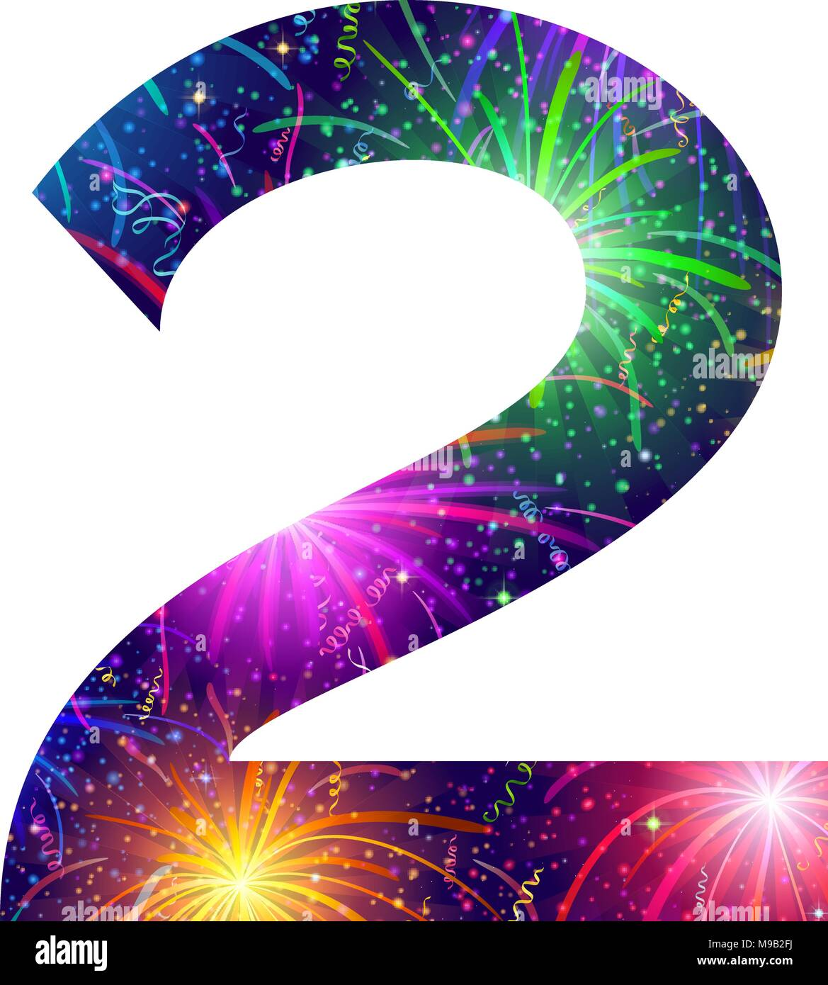 Number of colorful firework, two - Stock Image
