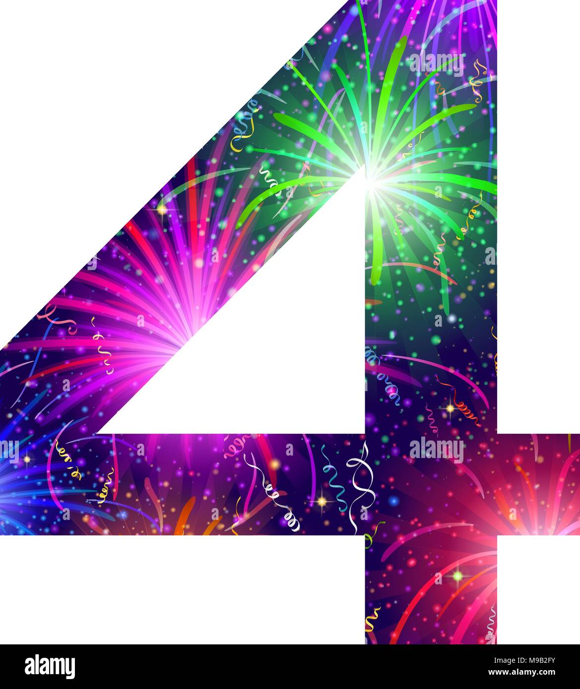 Number of colorful firework, four - Stock Image