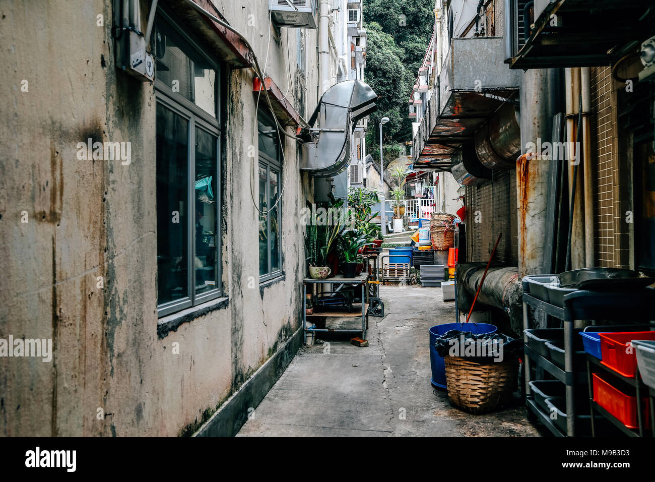 Back alley of restaurant at Lamma island village in HongKong - Stock Image
