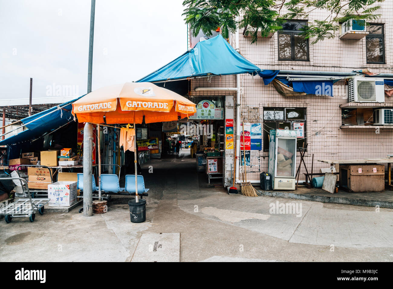 Hong Kong - March 16, 2017 : Asian old market street in Lamma island Sok Kwu Wan Fish village - Stock Image