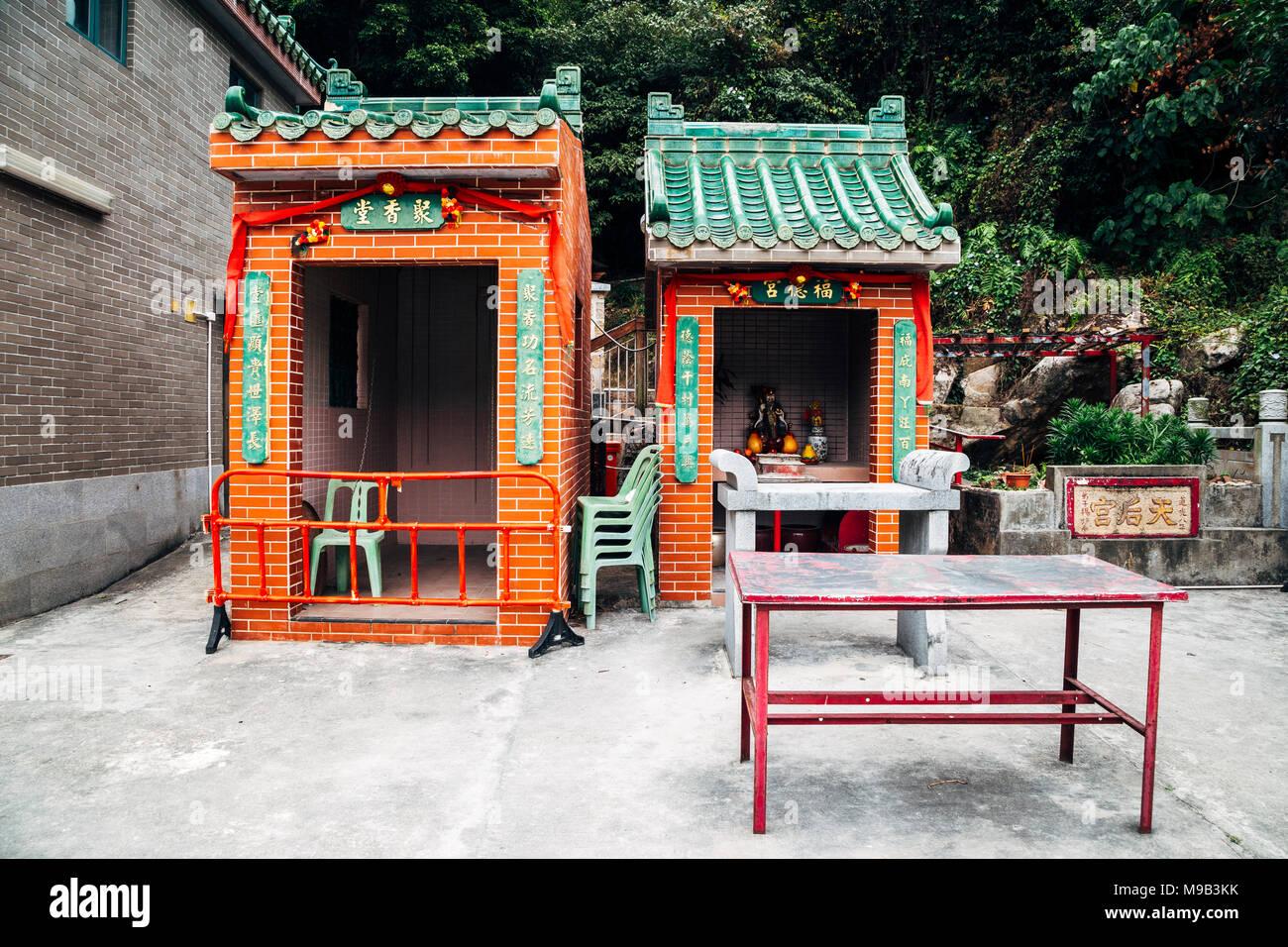Tin Hau Temple at Lamma island sea village in Hong Kong - Stock Image