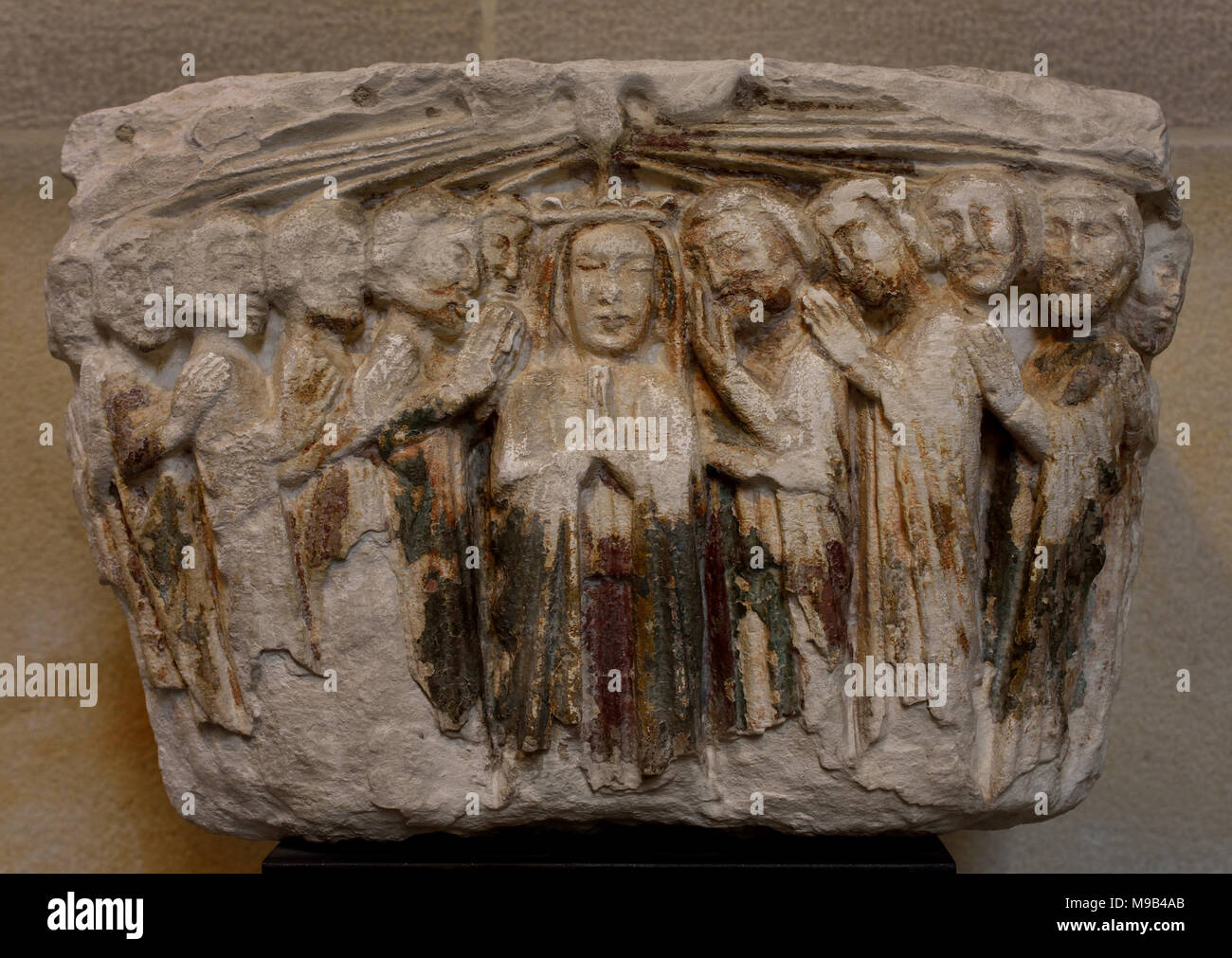 The descent of the Holy Spirit upon the Virgin and the Apostles (Pentecost Capital) 13th century Portugal, Portuguese, Coimbra ( scenes from the life of Christ, the Virgin and the Saints, ) - Stock Image