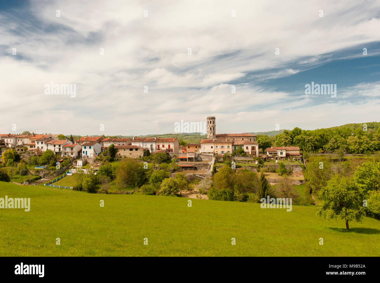 View of the old town of Rimont in Ariège, southern France Stock Photo