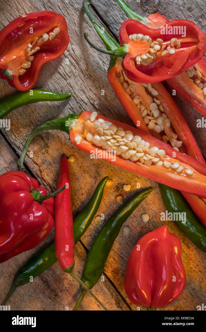 Hot and spicy chili peppers - jalapeno and habanero peppers. - Stock Image