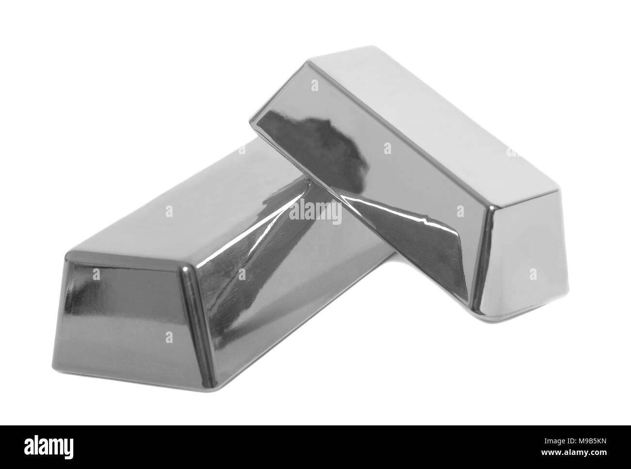 Silver bullion bars on white background - Stock Image