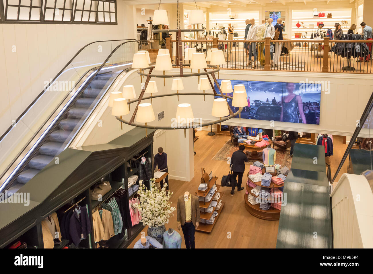 Interior of Polo Ralph Lauren store at Bicester Village Outlet Shopping Centre, Bicester, Oxfordshire, England, United Kingdom - Stock Image