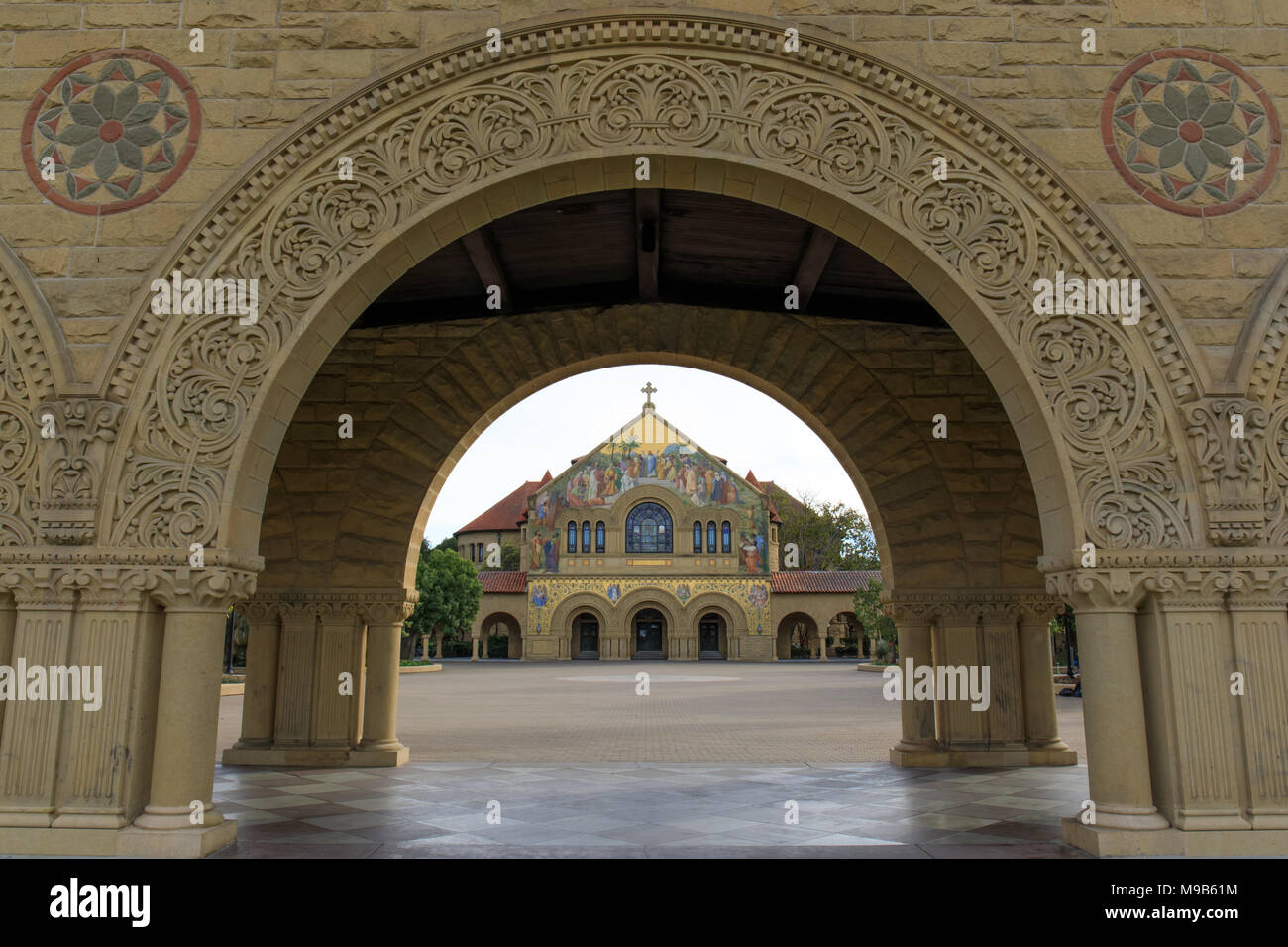 Stanford, California - March 19, 2018: North facade of Memorial Church from the Memorial Court of the Main Quad - Stock Image