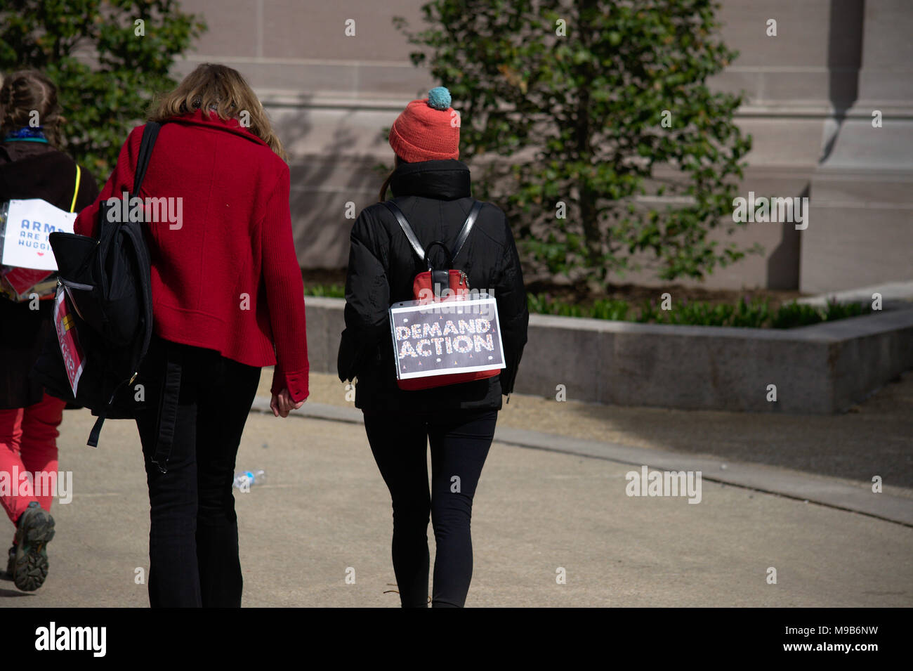 Adult with protect sign during March for Our Lives in Washington DC Stock Photo