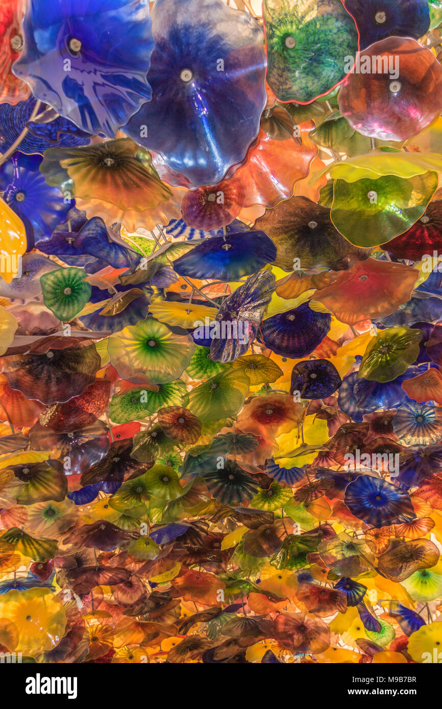 Glass Art in ceiling of The Bellagio Hotel and Casino in Las Vegas, Nevada. Stock Photo