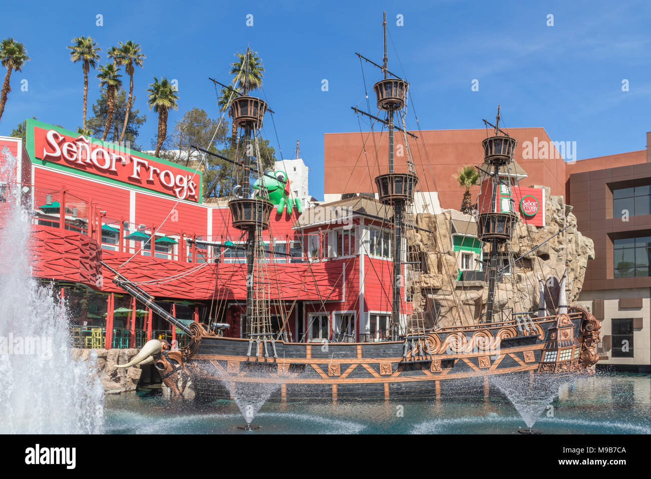 Senor Frogs restaurant and bar with entertainment at Treasure Island Hotel, Resort and Casino in Las Vegas, Nevada. - Stock Image