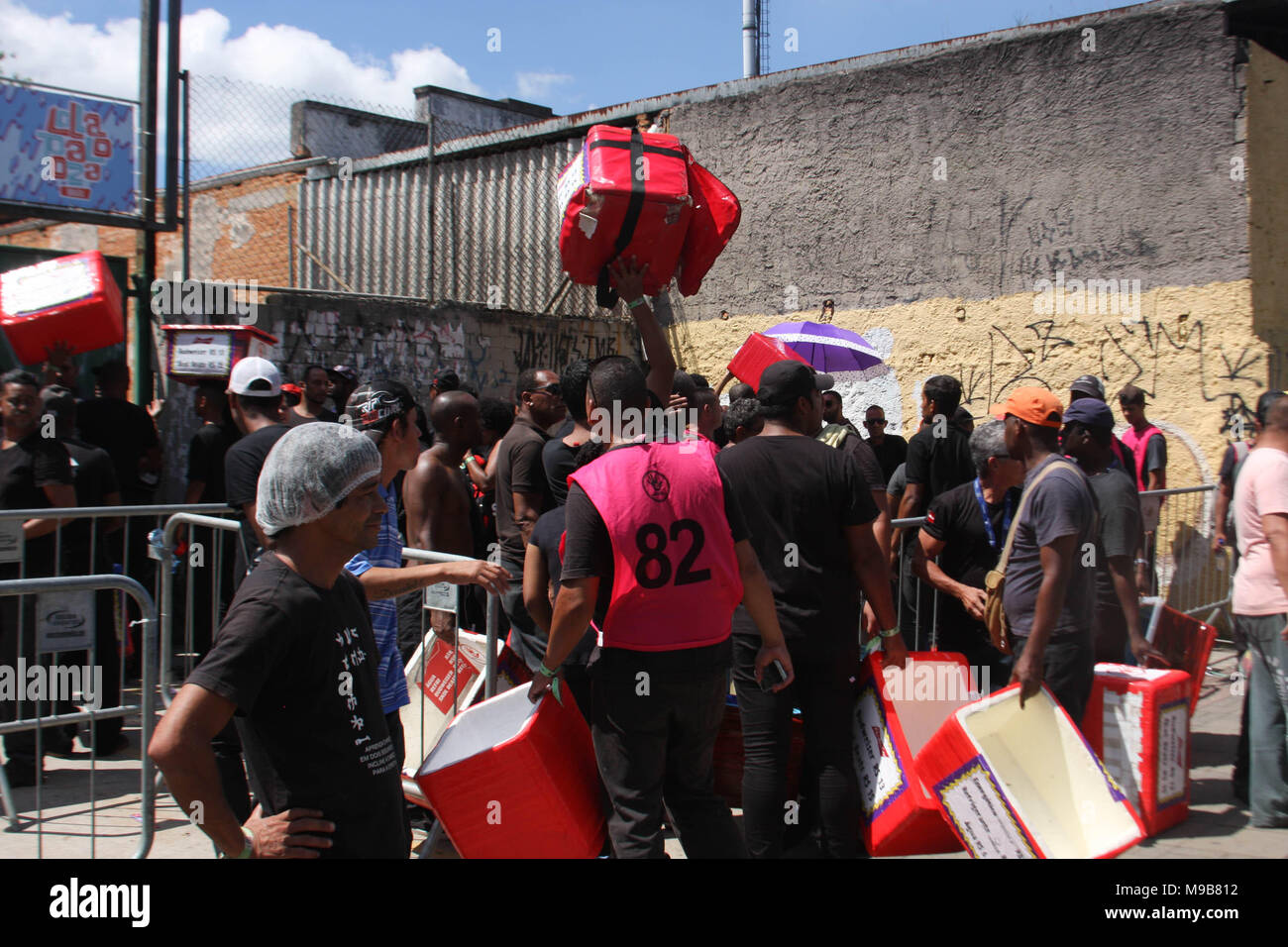 Sao Paulo, Brazil. 24th Mar, 2018. Local police confiscates foods, drinks and products during the event at Jose Carlos Pace Autodrome Interlagos. There were many policemen with their motorcycles, cars at the local to maintain order. Credit: Niyi Fote/Pacific Press/Alamy Live News - Stock Image
