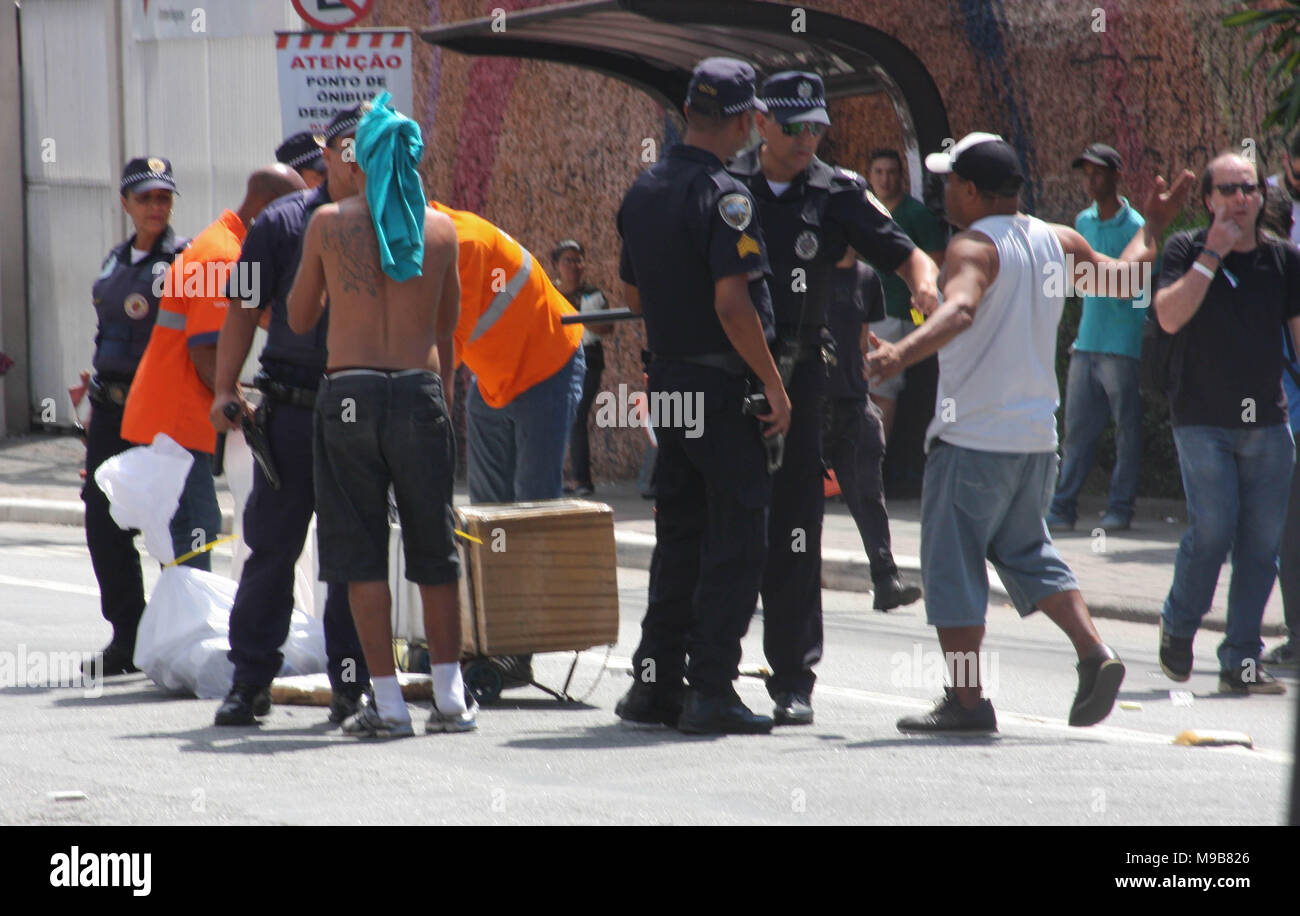 Brazil. 24th Mar, 2018. Local police confiscates food, drinks and products during the event at Jose Carlos Pace Autodrome Interlagos. There were many policemen with their motorcycles, cars at the local to maintain order. Credit: Niyi Fote/Pacific Press/Alamy Live News - Stock Image
