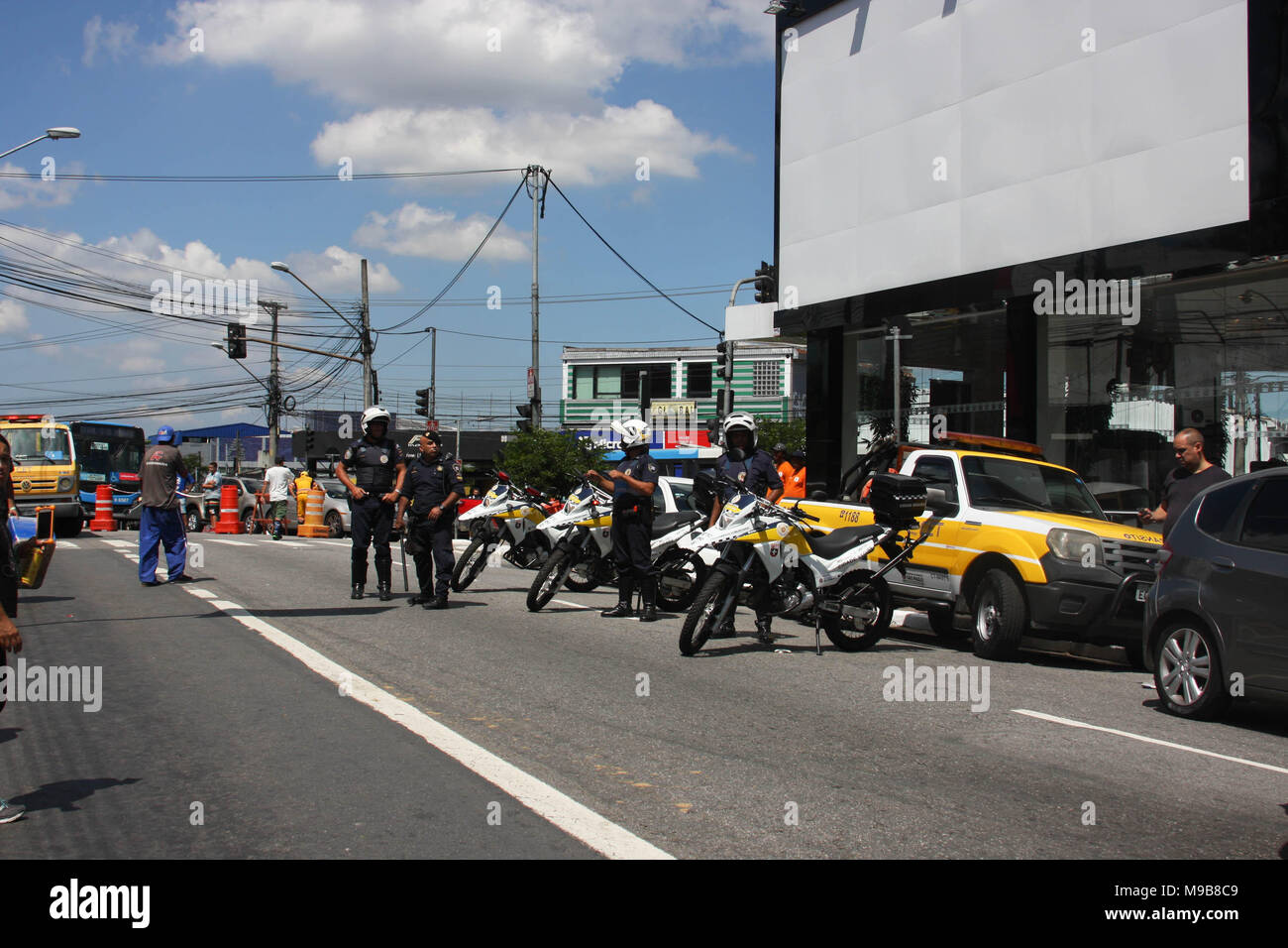 Brazil. 24th Mar, 2018. Local police confiscates foods, drinks and products during the event at Jose Carlos Pace Autodrome Interlagos. There were many policemen with their motorcycles, cars at the local to maintain order. Credit: Niyi Fote/Pacific Press/Alamy Live News - Stock Image