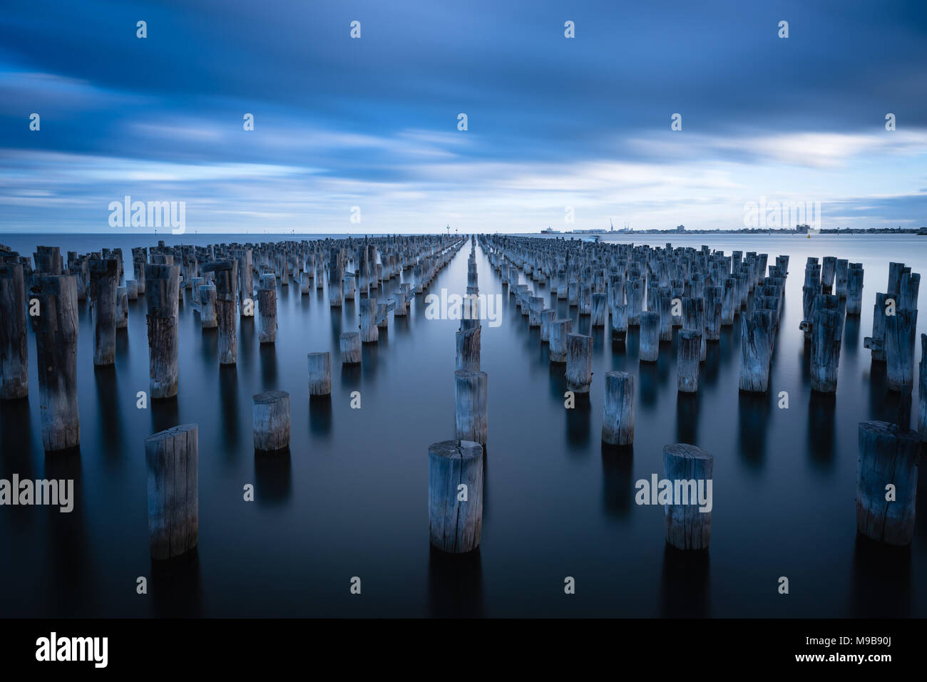Rows of pylons at Princes Pier, Port Melbourne - Stock Image