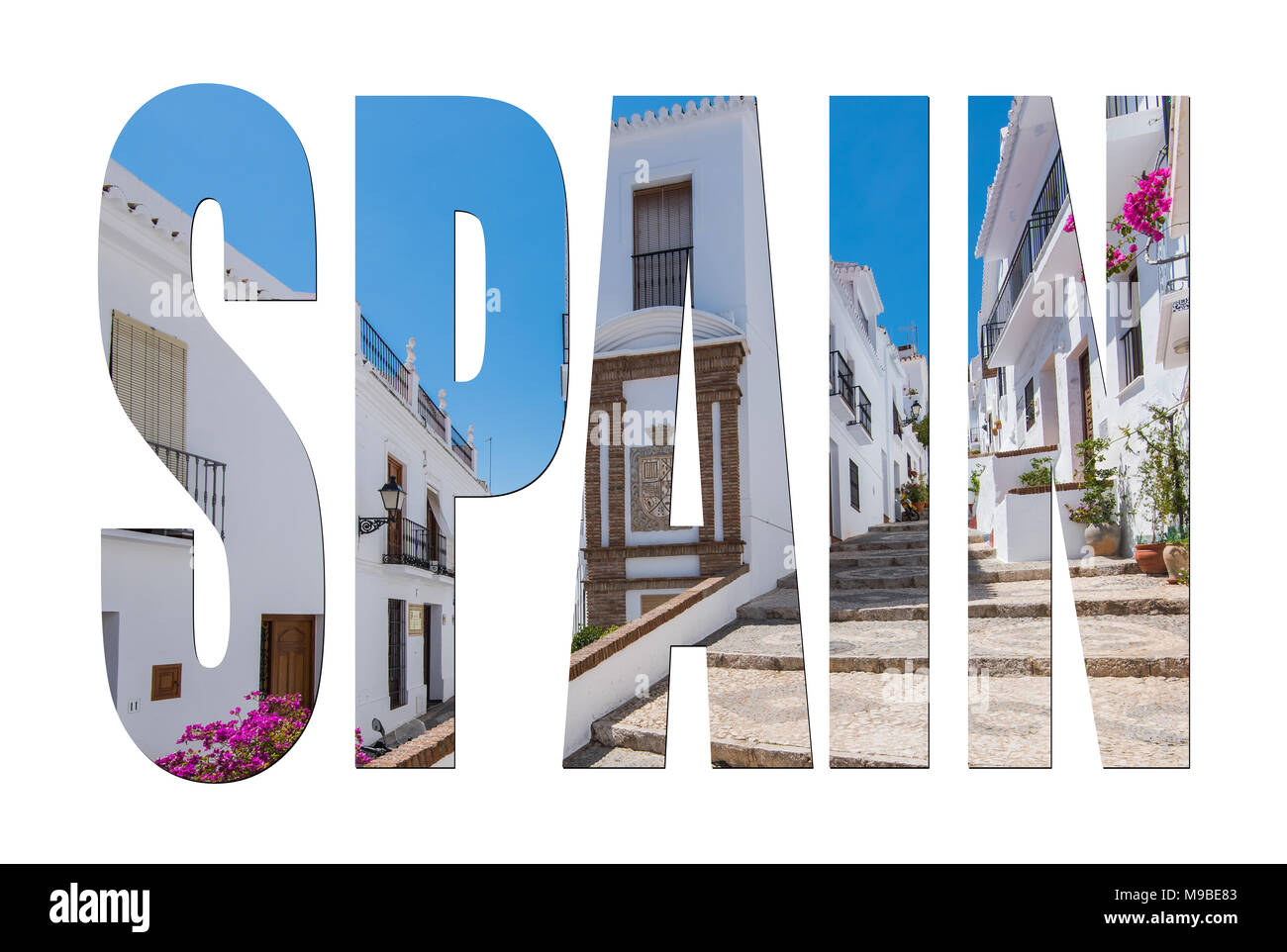Spain letters isolated, post card template mock up. - Stock Image