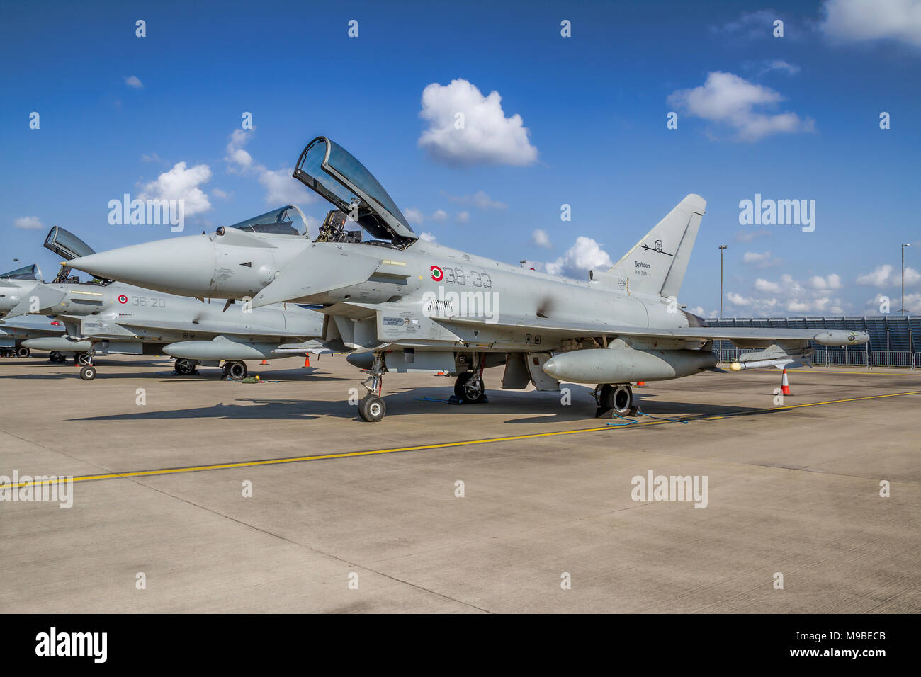Eurofighter F-2000A Typhoon MM7293/36-33 of 36° Stormo Italian Air Force pictured on the flight line at RAF Waddington UK in 2011. Stock Photo