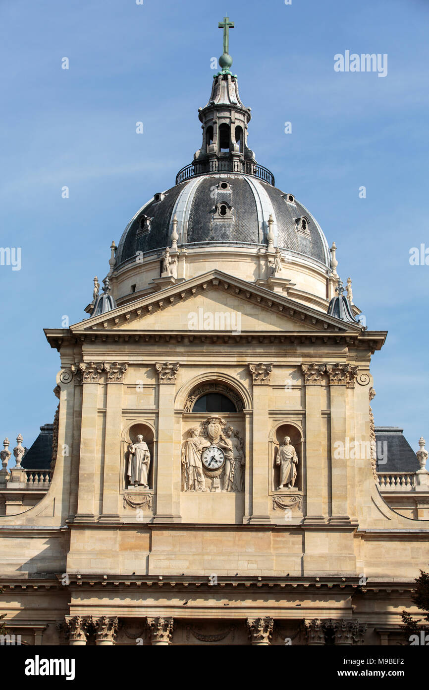 Sorbonne University in Paris, France. Name is derived from College de Sorbonne, founded by Robert de Sorbon - one of first colleges of medieval Univer - Stock Image