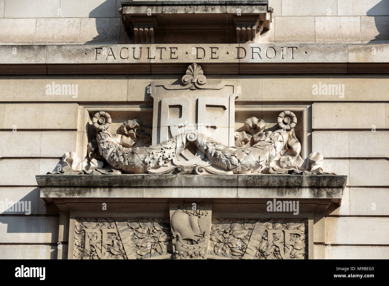 Sorbonne University in Paris. Name is derived from College de Sorbonne, founded in 1257 by Robert de Sorbon as one of the first colleges of medieval U - Stock Image