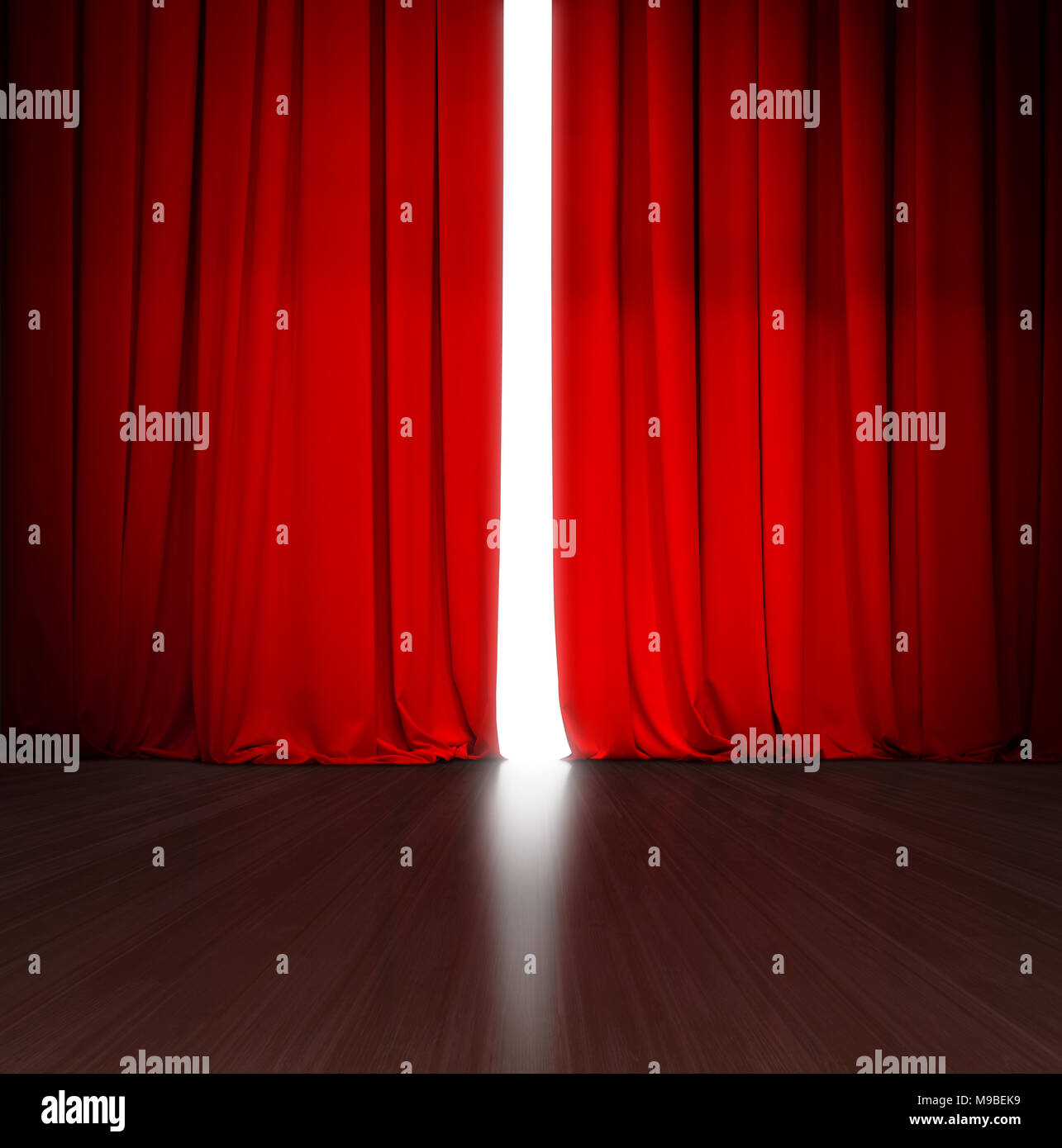 theater red curtain slightly open with bright light behind and wood stage or scene - Stock Image