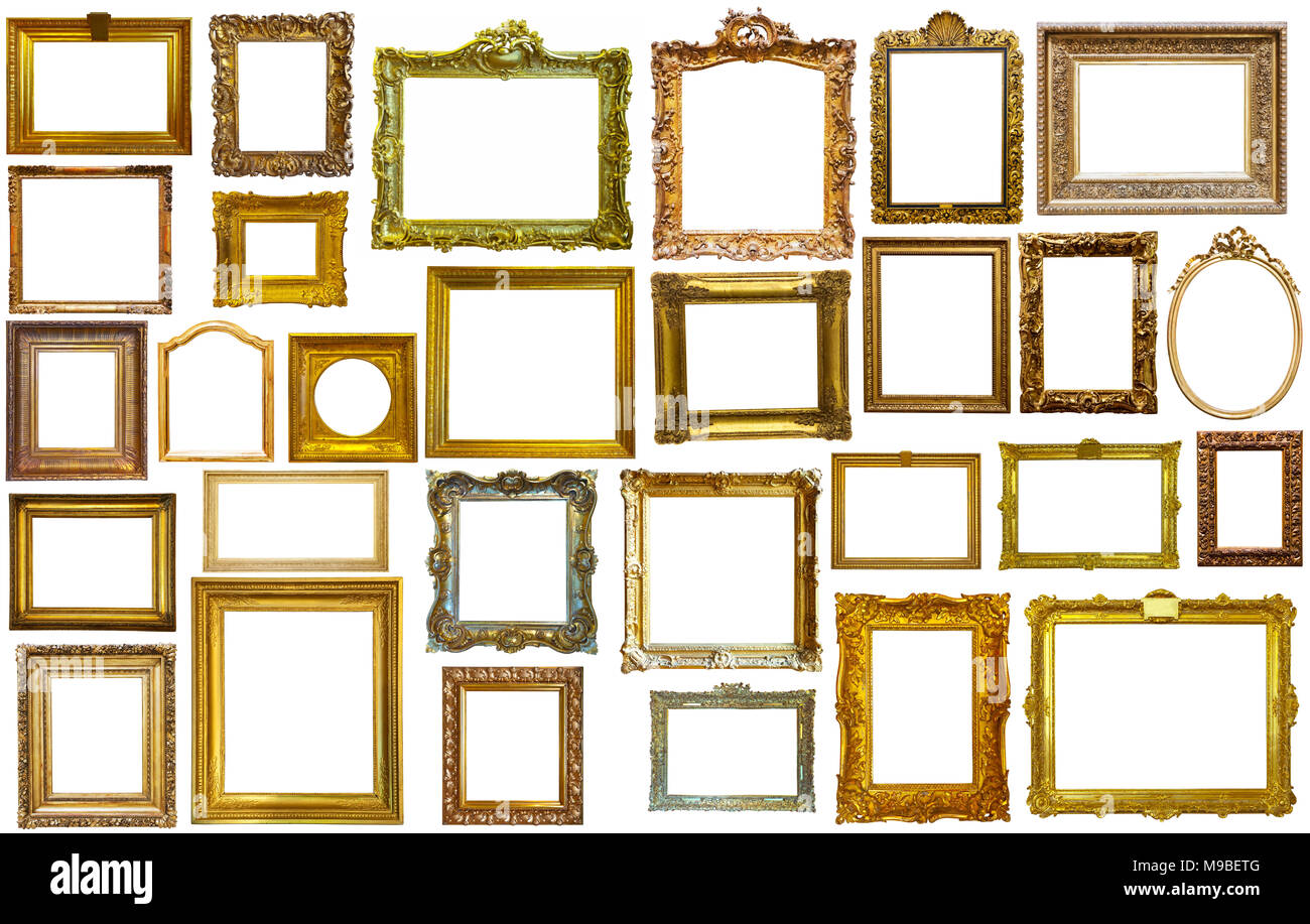 collection of isolated old fashioned empty art frames in different ...