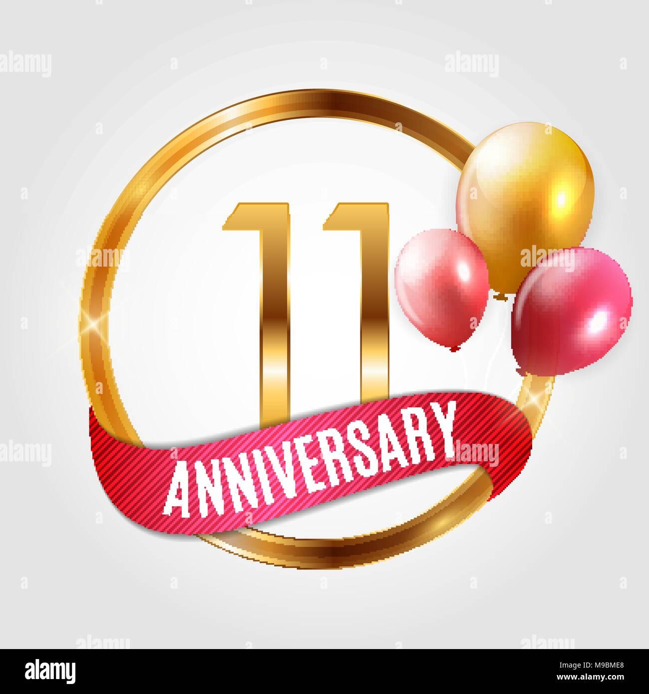 11 Anniversario Di Matrimonio.Template Gold Logo 11 Years Anniversary With Ribbon And Balloons