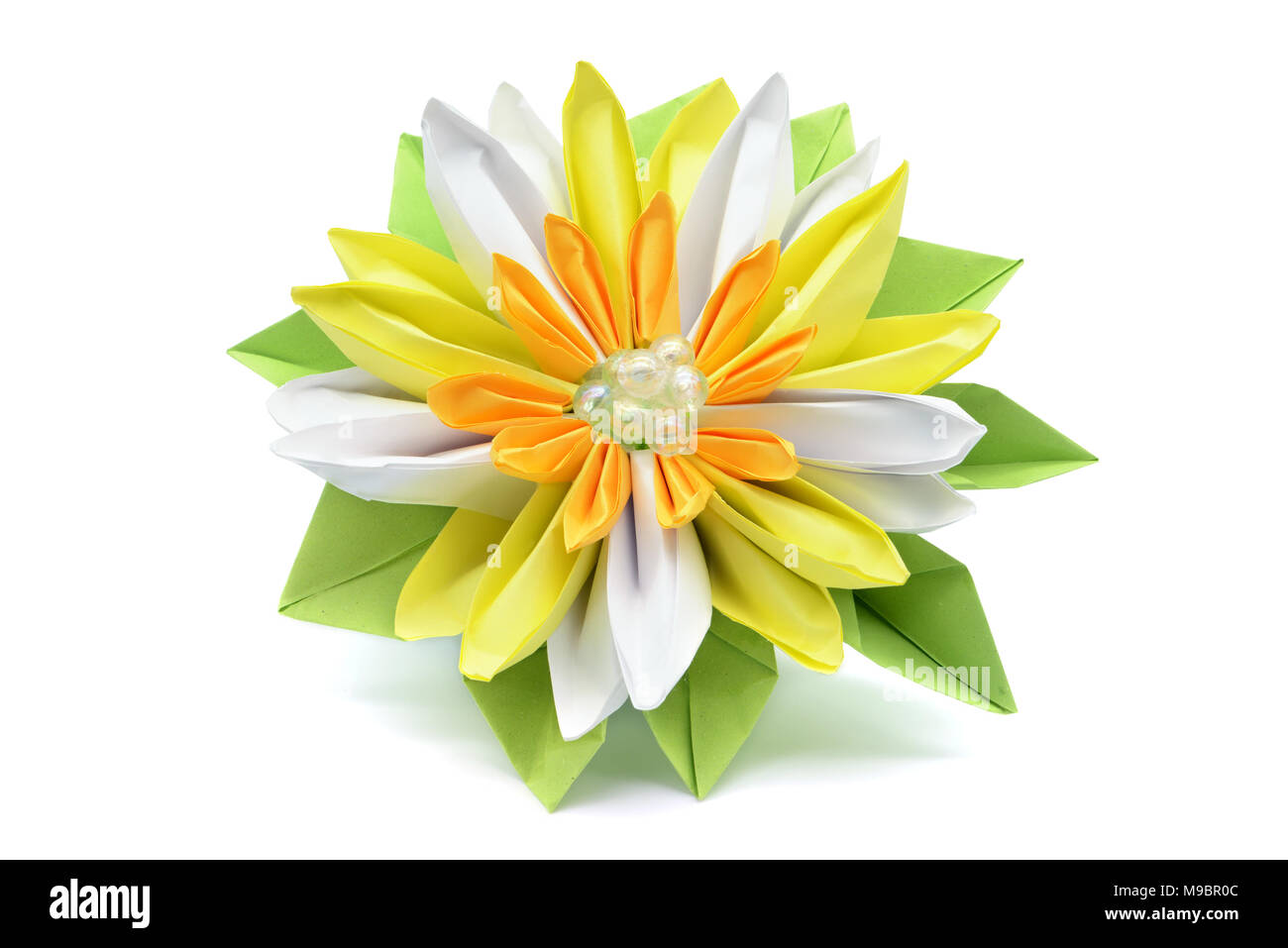 Water Lily Paper Origami On White Isolated Background