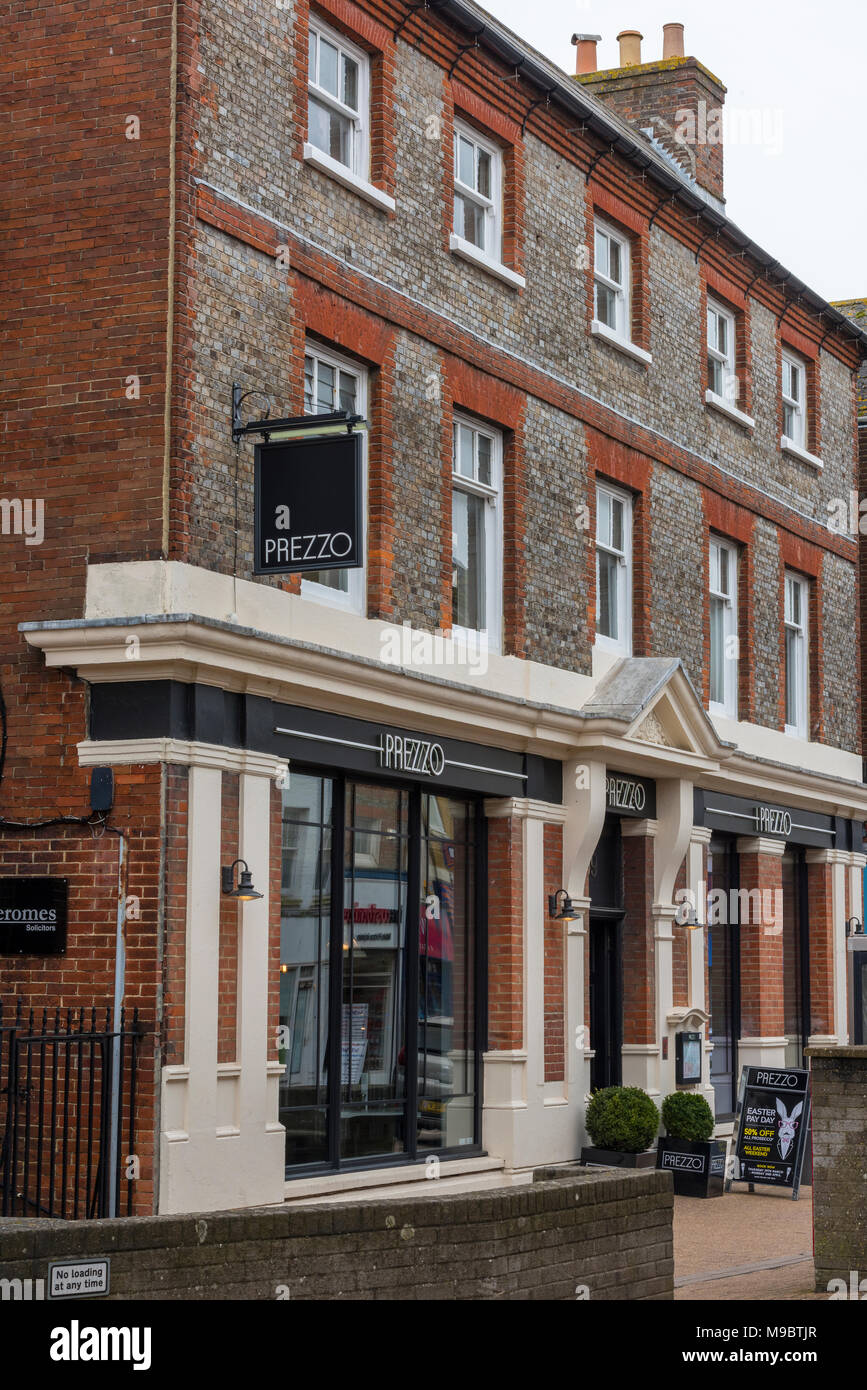 a Prezzo restaurant in a converted georgian building ex post office in a high street setting in town centre. Prezzo restaurant chain retailing eatery. - Stock Image