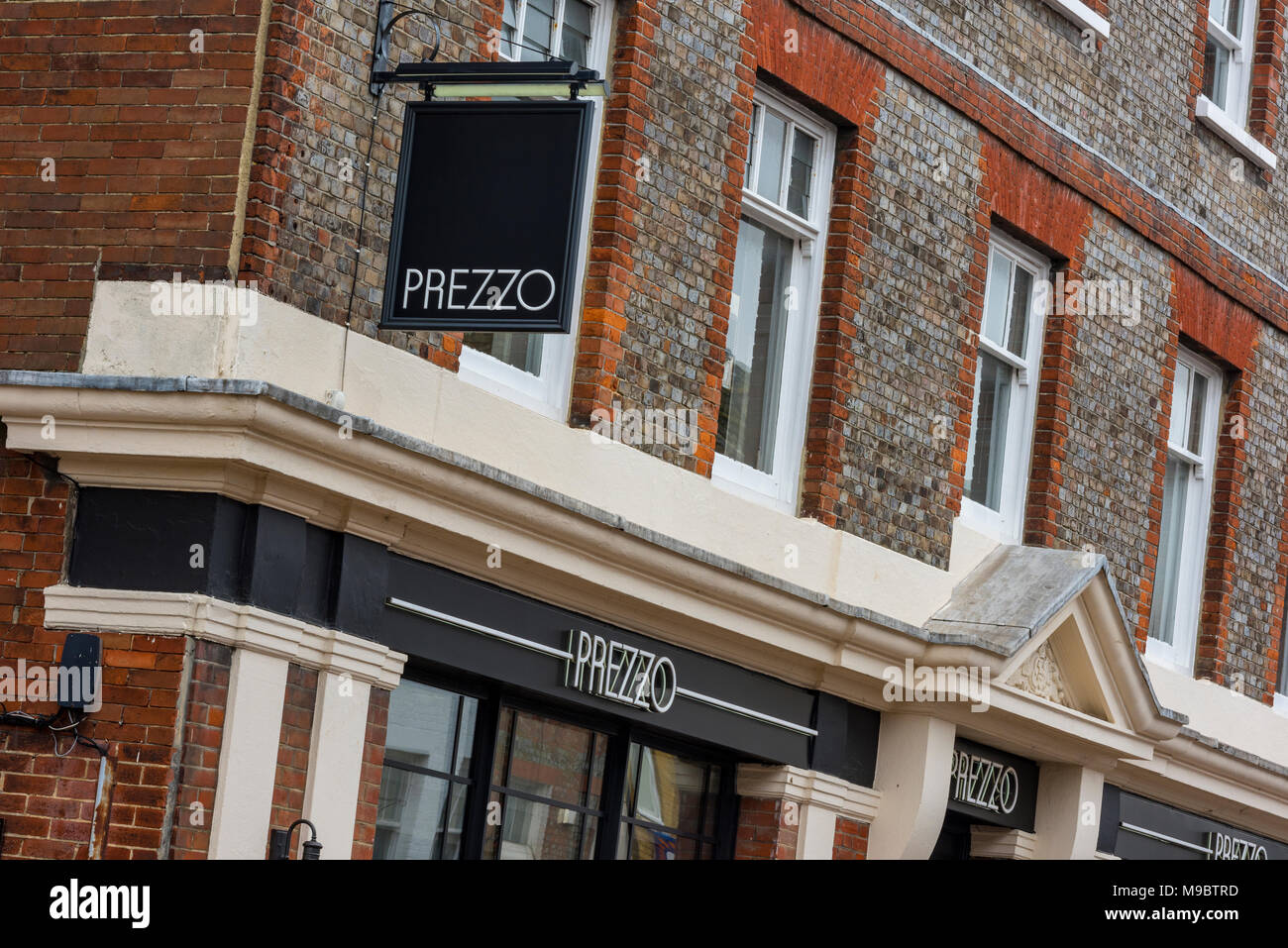 prezzo fast food high street restaurant or food chain serving traditional fayre with an italian bent. troubled restaurant chain getting closed down. Stock Photo