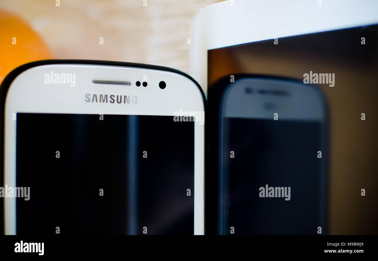 93fd12b46 Nis, Serbia, March 3, 2018: Samsung mobile phone with white tablet and