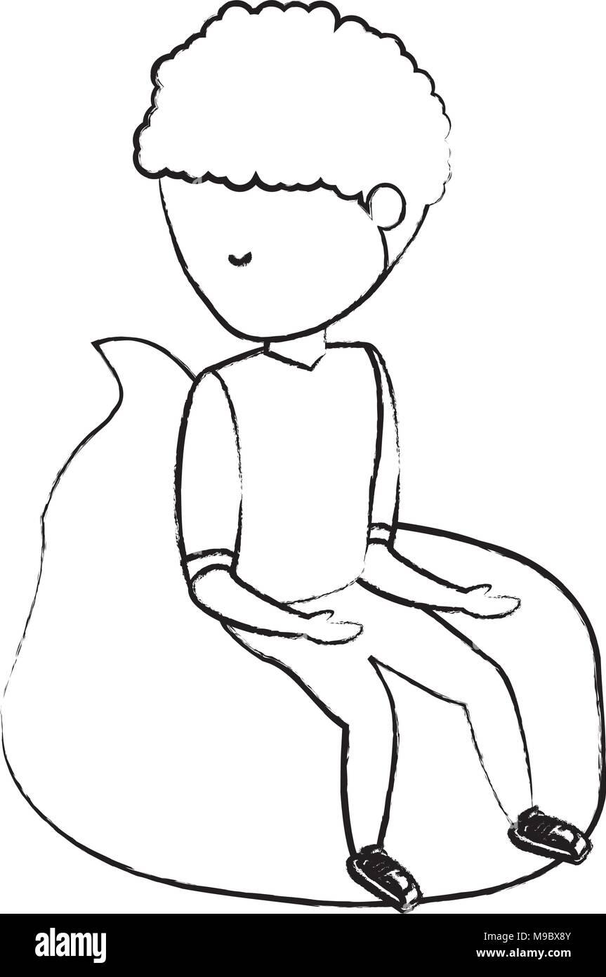 sketch of avatar man sitting on bean bag over white background, vector illustration - Stock Image