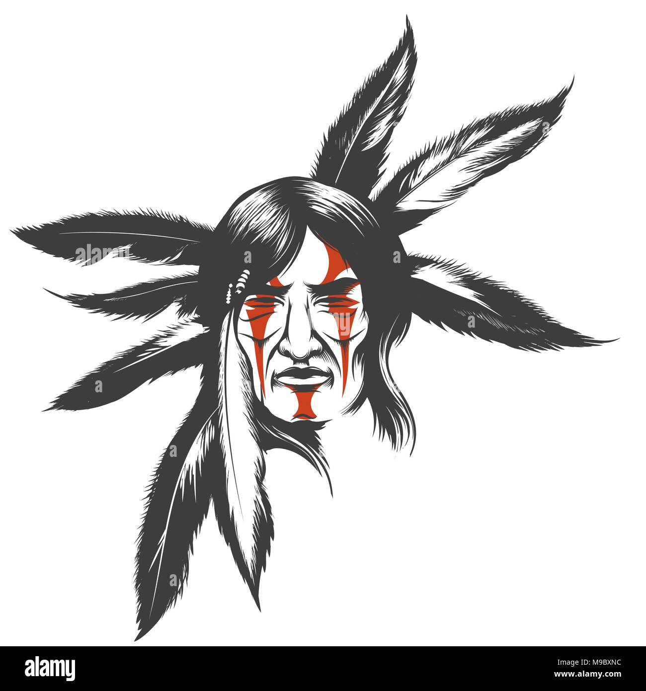 80ab0de768698 Hand drawn illustration of native american indian warrior. Tribal native  american with painted face and