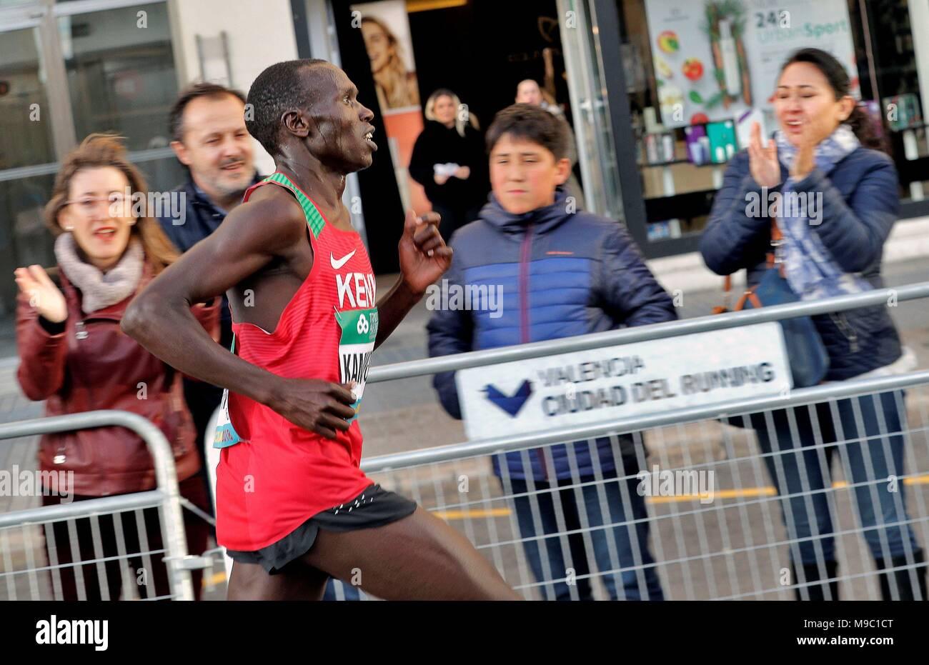 Kenyan athlete Geoffrey Kamworor in action during the International Association of Athletics Federations (IAAF) Men's World Half Marathon Championships 2018 in Valencia, eastern Spain, 24 March 2018. EFE/MANUEL BRUQUE - Stock Image